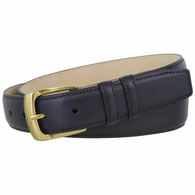 "1276 Dress Leather Belt Curved Brass Buckle - 1 1/4"" wide"