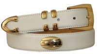 "1306 Leather Gold Concho Dress Belt - 1 1/8"" wide"