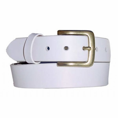 "1389 Casual Leather Brass Buckle Belt - 1 1/2"" wide"