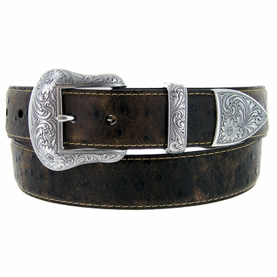 "1458 Lejon Belt Wyatt Italian Calfskin Embossed Ostrich Western Leather Belt 1-1/2"" Wide BLACK"
