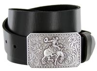 "150 Bronco Rider Cowboy Leather Belt - 1 1/2"" wide"