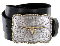 "1505 Golden Longhorn Full Grain Leather Western Belt - 1 1/2"" wide"