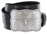 "1510 Silver Longhorn Western Buckle Full Grain Leather Belt - 1 1/2"" wide"