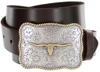 "1511 Western  Longhorn Full Grain Leather Belt - 1 1/2"" wide"
