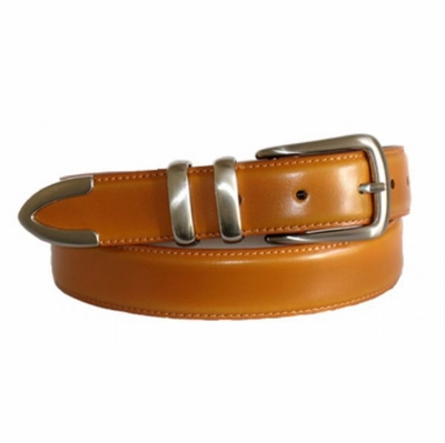 "4492 Tan Leather Dress Belt - 1 1/8"" wide"