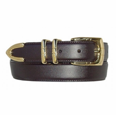 "1552 Golden Italian Calfskin Leather Dress Belt - 1 1/8"" wide"