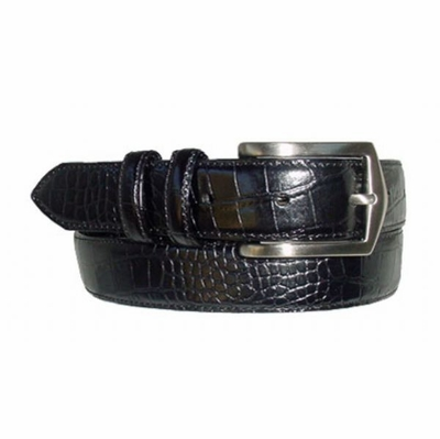 "1584XL Embossed Italian Calfskin Leather Dress Belt - 1 1/8"" wide"