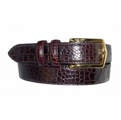 1586 Alligator Embossed Leather Dress Belt