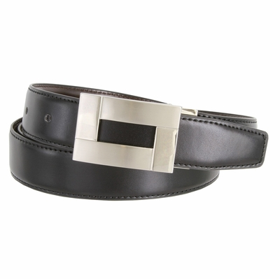 "1845 Reversible Leather Belt Clamp Buckle - 1 1/8"" wide Available up to size 54"""