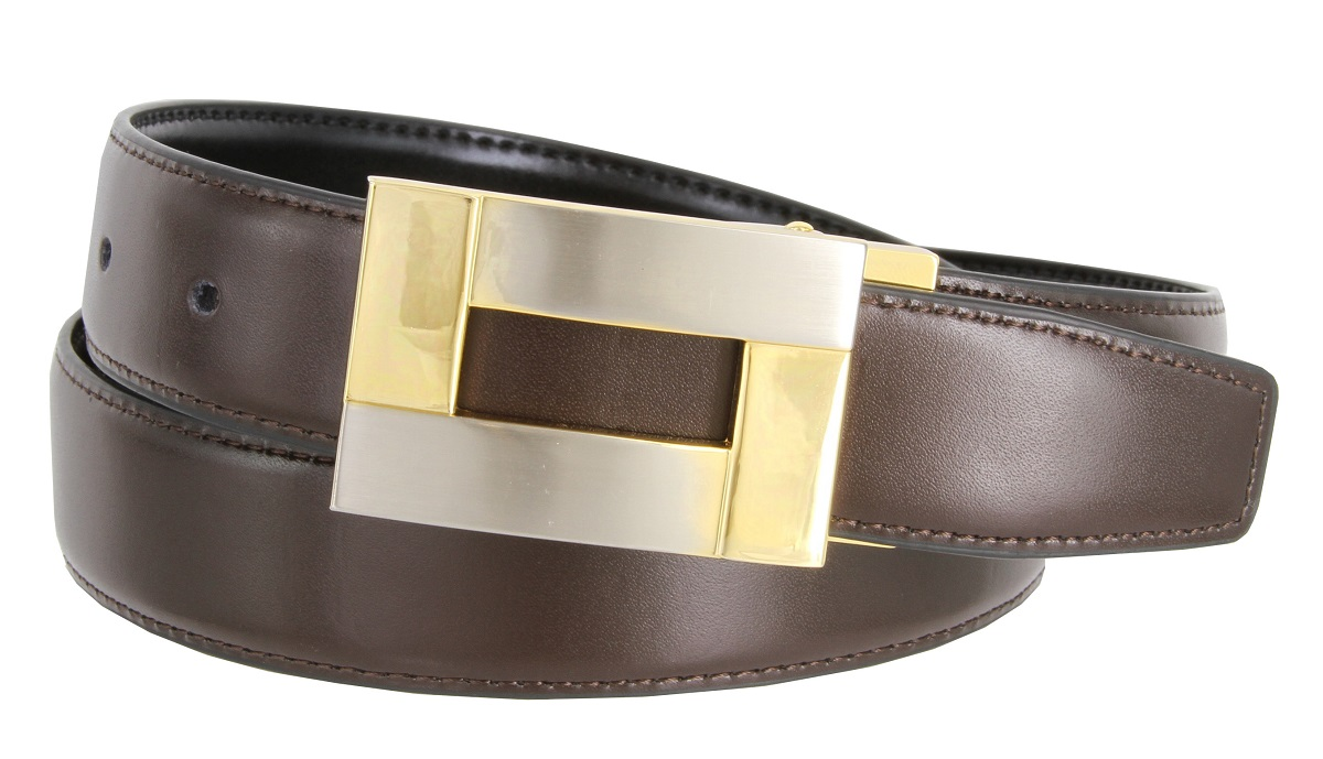 37c71260d8b48 1846 Reversible Leather Belt Clamp Buckle - 1 1/8