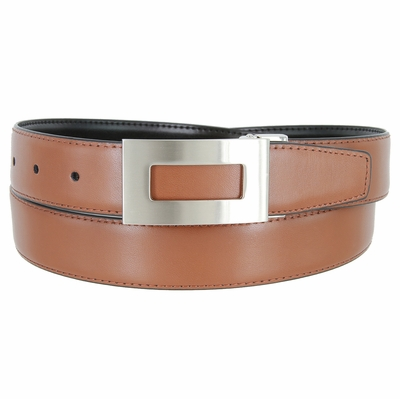 """1851 Reversible Leather Belt Clamp Buckle - 1 1/8"""" wide Available up to size 54"""""""