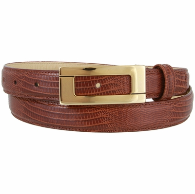 "1866 Italian Calfskin Embossed Leather Dress Belt - 1"" wide"