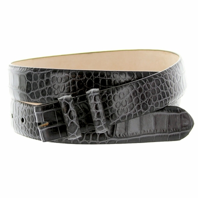 "1871 Alligator Grain Belt Strap - 1 1/8"" wide GRAY"