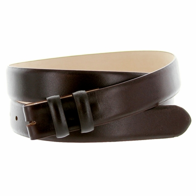 "1877 Calfskin Leather Belt Strap - 1 1/8"" wide BROWN"