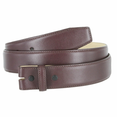 "1935 Smooth Genuine Leather Belt Strap - 1 3/8"" wide BURGUNDY"