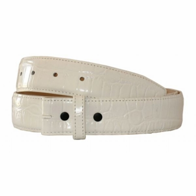 "1936 Croco Embossed Leather Belt Strap - WHITE 1 3/8"" wide"