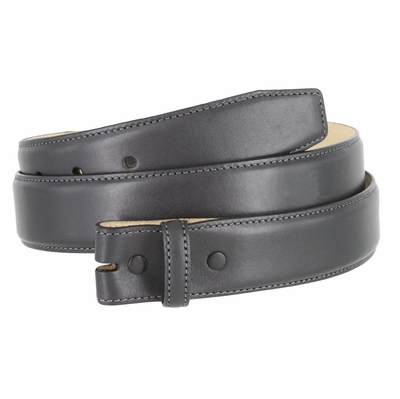 "1935 Smooth Genuine Leather Belt Strap -1 3/8"" wide - Charcoal Gray"