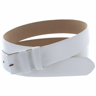 "1950 Smooth Leather Belt Strap - 1 1/8"" wide WHITE"
