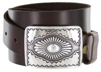"1960 Southwestern Style Casual full Grain Leather Belt - 1 1/2"" wide"