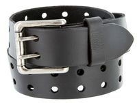 "2 Holes Silver Roller Buckle Vintage Full Leather Casual Jean Belt - 1 1/2"" wide BLACK"