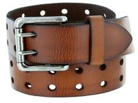 "2 Holes Silver Roller Buckle Vintage Full Leather Casual Jean Belt - 1 1/2"" wide BROWN"