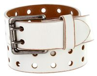 "2 Holes Silver Roller Buckle Vintage Full Leather Casual Jean Belt - 1 1/2"" wide WHITE"