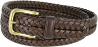 "20150 Men's Braided Woven Leather Dress Belt 1-1/4"" wide with Brass Plated Buckle - Brown"