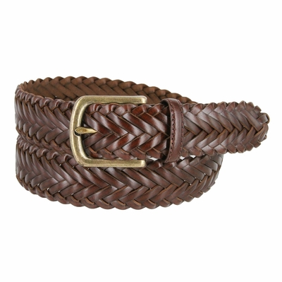 "20151-35 Men's Braided Leather Dress Belt 1-3/8"" (35mm) Wide - Brown"