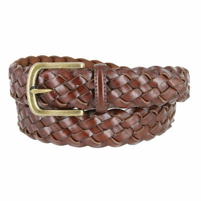 "20152-35 Men's Braided Leather Dress Belt 1-3/8"" (35mm) Wide - Brown"