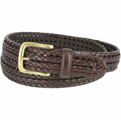"20153 Men's Double Braided Woven Leather Dress Belt 1-1/4"" wide with Brass Plated Buckle - Brown"
