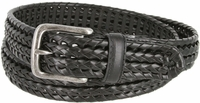"20153 Men's Double Braided Woven Leather Dress Belt 1-1/4"" wide with Nickel Plated Buckle - Black"
