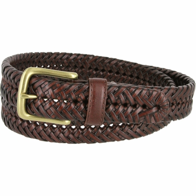 "20154 Men's Braided Woven Leather Dress Belt 1-1/4"" wide with Brass Plated Buckle - Brown"