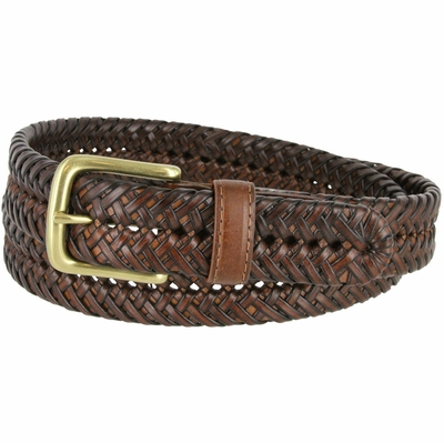"20154 Men's Braided Woven Leather Dress Belt 1-1/4"" wide with Brass Plated Buckle - Tan"