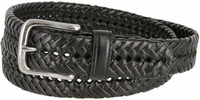 "20154 Men's Braided Woven Leather Dress Belt 1-1/4"" wide with Nickel Plated Buckle - Black"