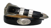 2050 Silver Longhorn Steer Calfskin Leather Belt