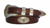 2053 Fullerton Gold Longhorn Steer Western Calfskin Leather Belt