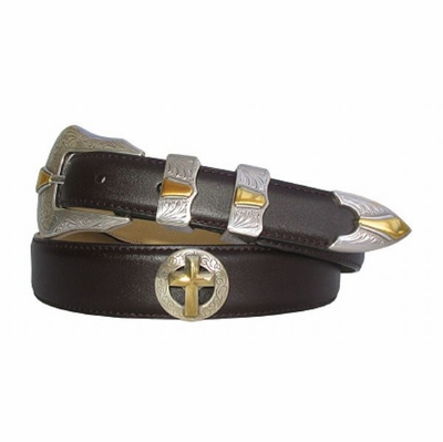 2055 Fullerton Western Gold Christian Cross Dress Leather Belt