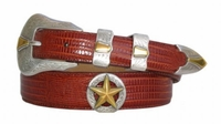 2056 Western Gold Star Leather Dress Belt