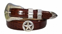 2057 Western Silver Star Calfskin Leather Dress Belt