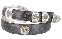2058 Texas Seal Antique Silver Antique Gold Calfskin Leather Dress Belt