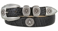 2059 Texas Seal Antique Silver Calfskin Embossed Leather Dress Belt