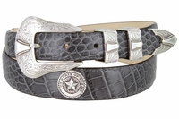 2060 Texas Seal Silver Calfskin Leather Dress Belt
