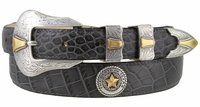 2061 Texas Seal Gold Calfskin Leather Dress Belt
