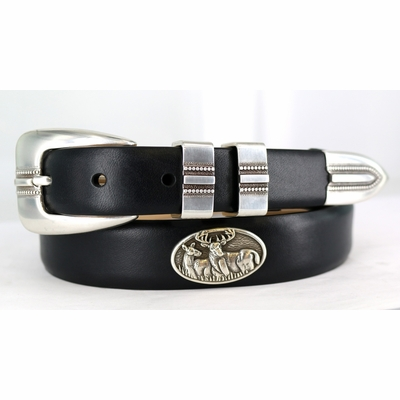 2189 Deer Calfskin Leather Dress Belt