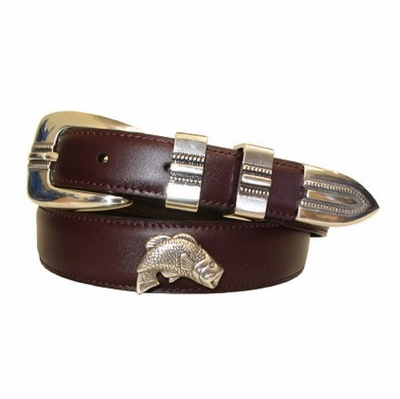 2194 Bass Fishing Sporting Dress Belt - CORDOVAN