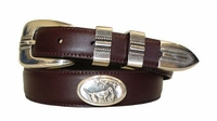 2198 Hunting Dog Concho Leather Dress Belt - Burgundy