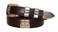 2199 Hunting Basket Concho Leather Dress Belt - Burgundy