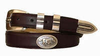 2203 Horse Concho Leather Dress Belt - Burgundy