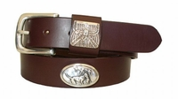 "2219 Dogs Full Grain Leather Belt - 1 1/4"" wide"