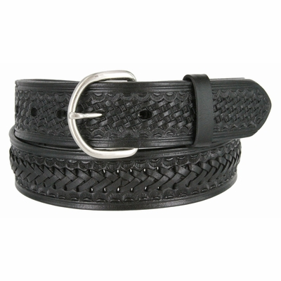 "2283 Western Basketweave and X Pattern Genuine Leather Belt - 1 1/2"" wide BLACK"